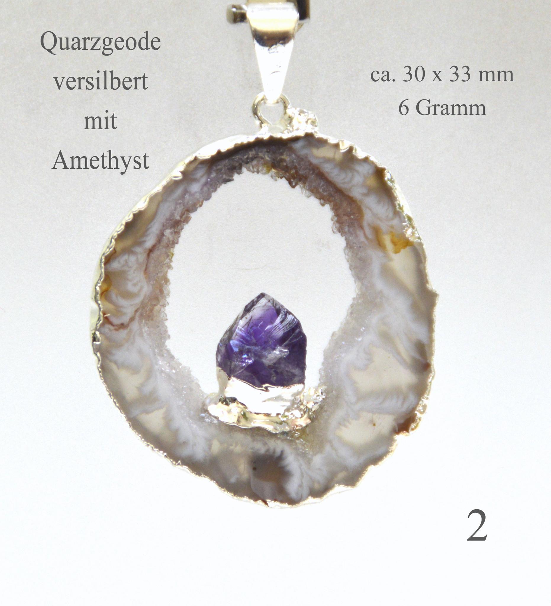 Achat Geode versilbert mit Amethyst