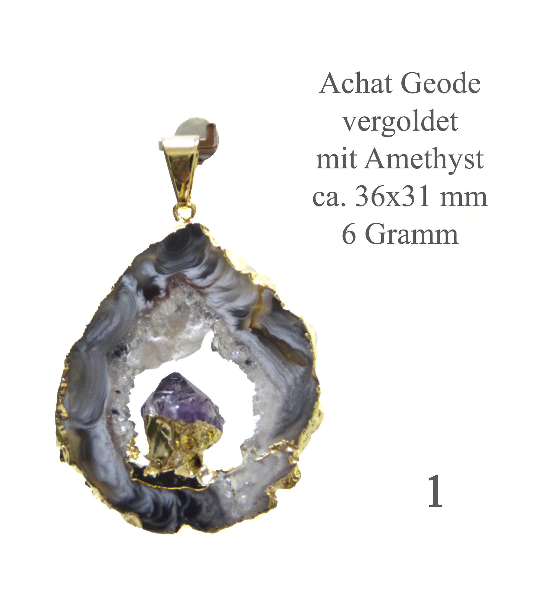 Achat Geode vergoldet mit Amethyst