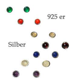 Ohrstecker Edelstein in 925er Silber gefasst 4 mm