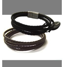 Akzent Leder 4-Strang Armband geflochten