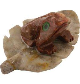 Frosch Blatt Speckstein ca. 33 mm