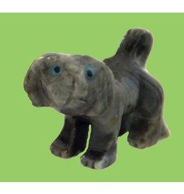 Hund/Pekinese Speckstein ca. 33 mm