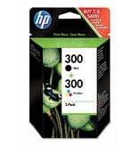 Hewlett & Packard INC. HP 300 originele zwarte/drie-kleuren inktcartridges, 2-pack