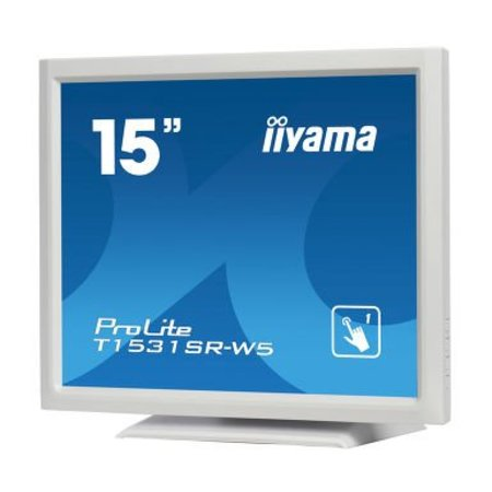 "Iiyama iiyama ProLite T1531SR-W5 touch screen-monitor 38,1 cm (15"") 1024 x 768 Pixels Wit"