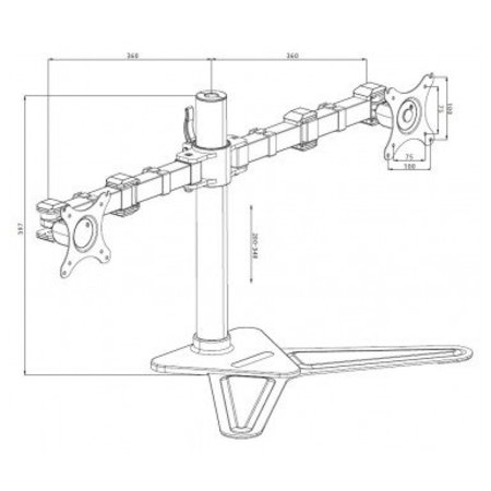 "Iiyama iiyama DS1002D-B1 flat panel bureau steun 76,2 cm (30"") Zwart"