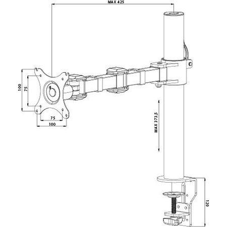 "Iiyama iiyama DS1001C-B1 flat panel bureau steun 76,2 cm (30"") Klem Zwart"