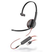 Plantronics Headset zwartwire C3215 monaural USB + 3.5mm