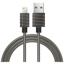 Stainles Steel Spring Wire lightning 2.4A cable Grey