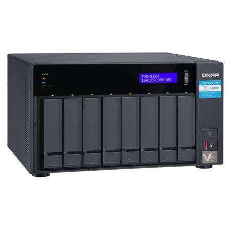 QNAP QNAP TVS-872N i3-8100T Ethernet LAN Toren Zwart NAS