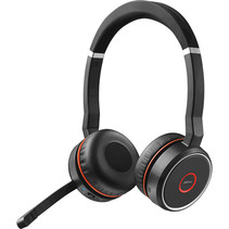 Jabra Evolve 75 MS Stereo Headset Hoofdband Zwart, Rood