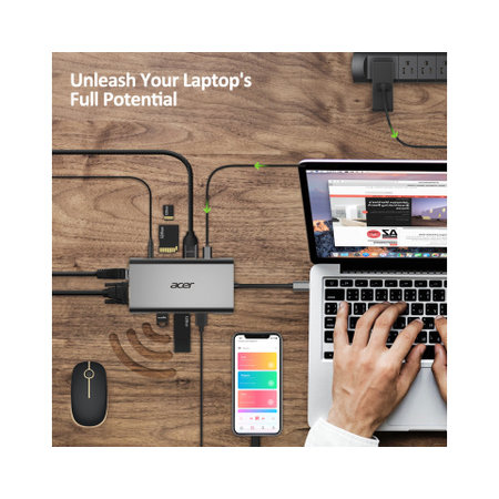Acer Acer HP.DSCAB.002 interface hub USB 3.2 Gen 1 (3.1 Gen 1) Type-C 5000 Mbit/s Zilver
