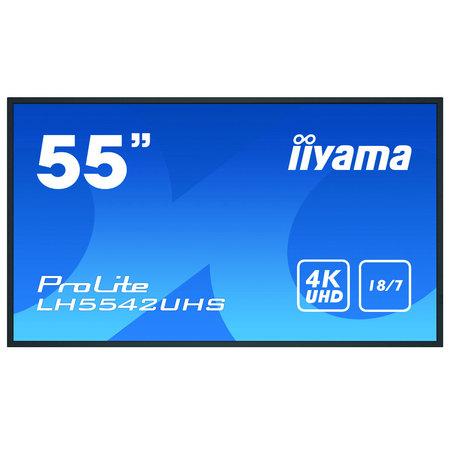 """Iiyama iiyama LH5542UHS-B1 beeldkrant Digitale signage flatscreen 138,7 cm (54.6"""") IPS 4K Ultra HD Zwart Type processor Android 8.0"""