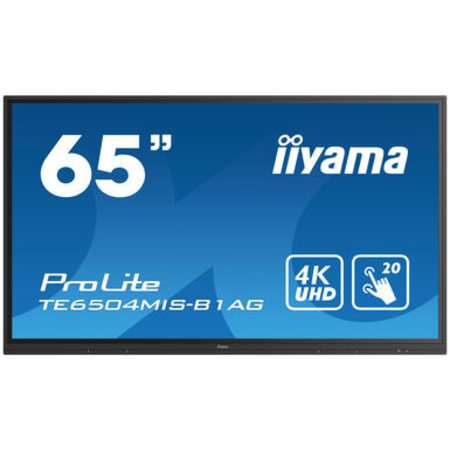 "Iiyama iiyama TE6504MIS-B1AG beeldkrant Digitale signage flatscreen 165,1 cm (65"") IPS 4K Ultra HD Zwart Touchscreen Type processor Android"