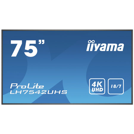 "Iiyama iiyama PROLITE LH7542UHS-B3 Digitale signage flatscreen 189,2 cm (74.5"") IPS 4K Ultra HD Zwart Type processor Android 8.0"