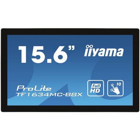 "Iiyama iiyama ProLite TF1634MC-B8X touch screen-monitor 39,6 cm (15.6"") 1920 x 1080 Pixels Multi-touch Multi-gebruiker Zwart"