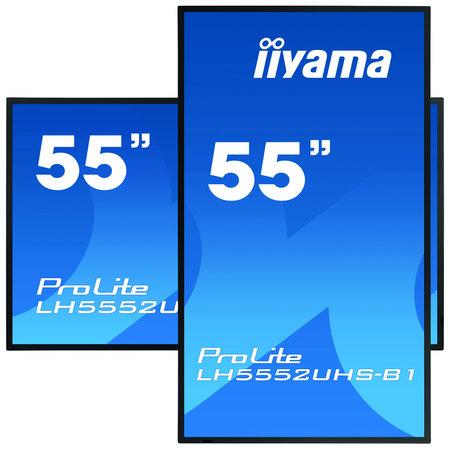"""Iiyama iiyama LH5552UHS-B1 beeldkrant Digitale signage flatscreen 138,7 cm (54.6"""") VA 4K Ultra HD Zwart Type processor Android 8.0"""
