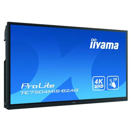 "Iiyama iiyama TE7504MIS-B2AG beeldkrant Interactief flatscreen 190,5 cm (75"") IPS 4K Ultra HD Zwart Touchscreen Type processor Android"