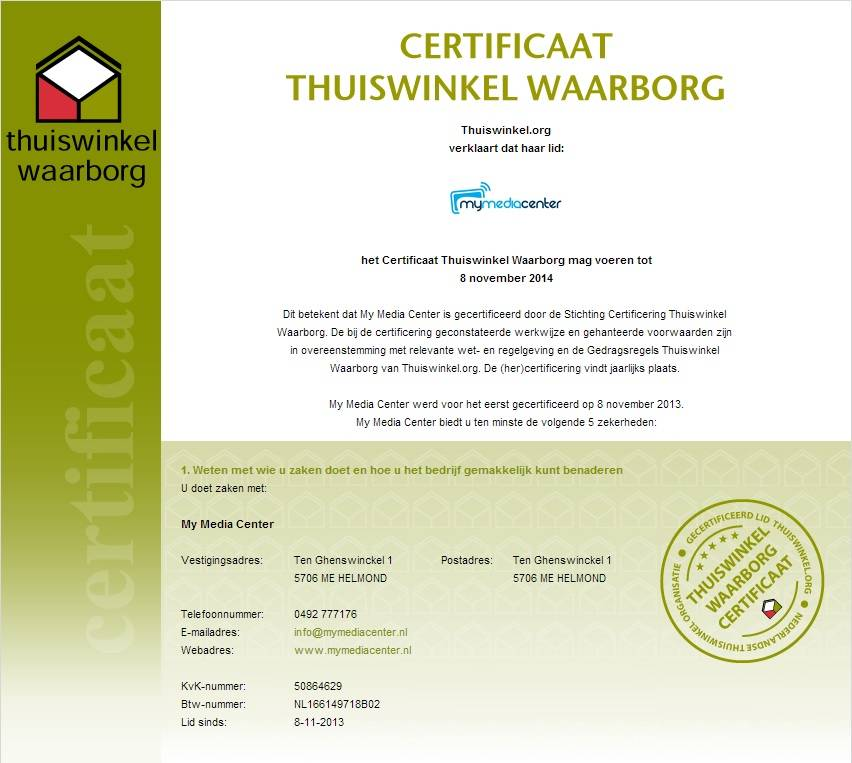 Lid van Thuiswinkel Waarborg!
