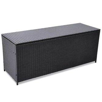 Tech66 Opslagkist voor buiten poly rattan zwart 150x50x60 cm
