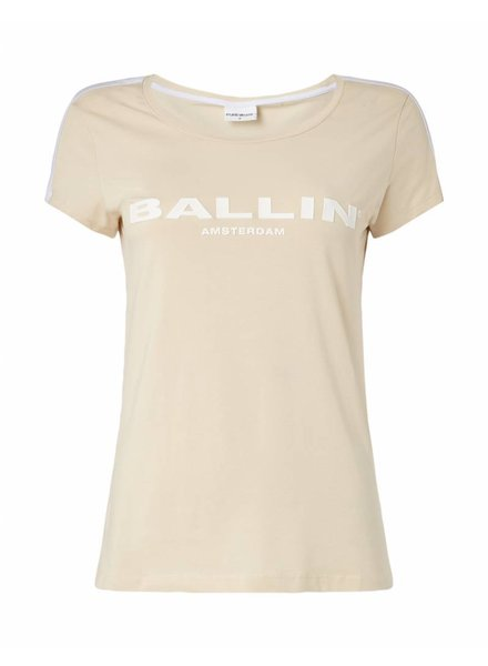 BALLIN Amsterdam  Dames Striped  T-shirt Zand