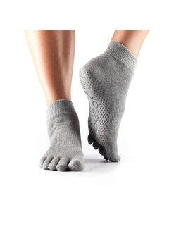 Toe Sox Toesox Ankle Grip Full Toe Grijs Teensokken