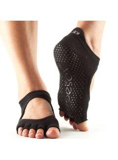 Toe Sox Toesox Bellarina Grip Half Toe Zwart Teensokken