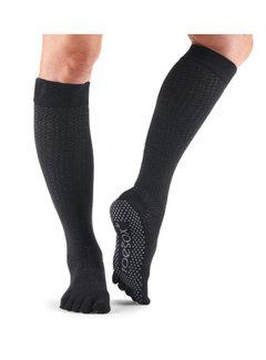 Toe Sox Toesox Full Toe Grip Scrunch - Kniehohe, schwarze Zehensocken