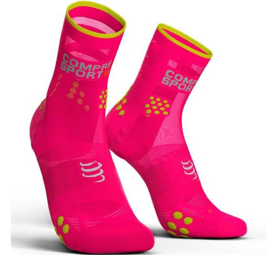 Compressport Racing Socks V3.0 Run Hi Fluo Pink