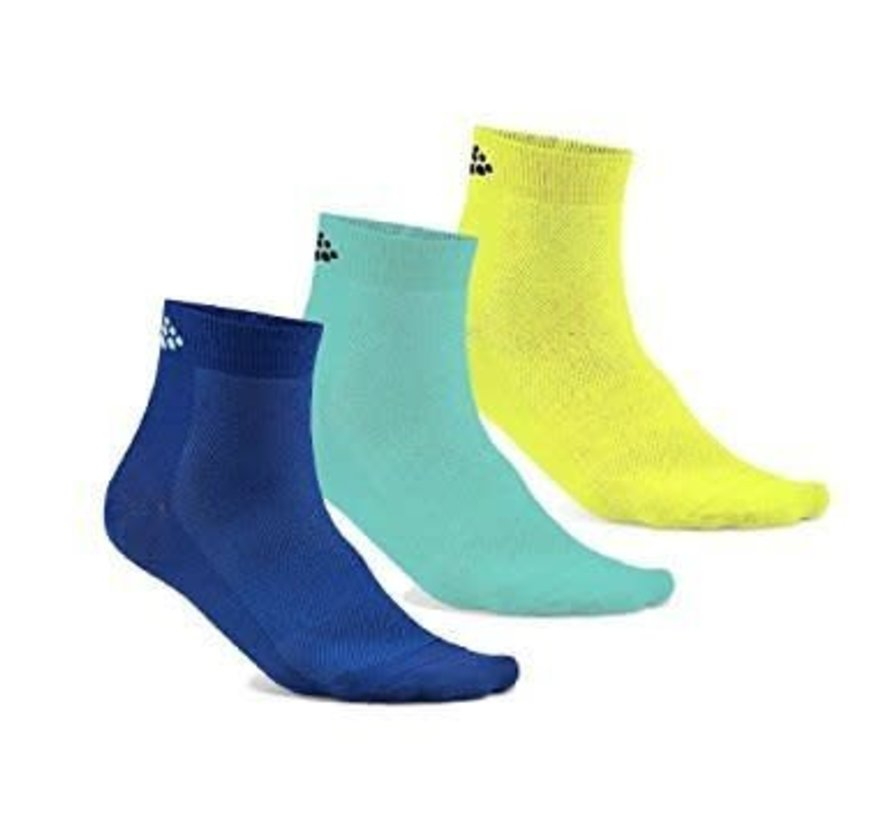 Craft Greatness Mid Sock Blue-Yellow (3 pairs)