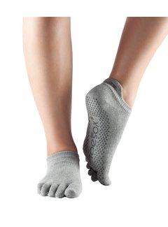 Toe Sox Toesox Low Rise Full Toe Grip Toe Socks Gray