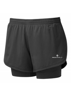 Ron Hill Ron Hill Stride Twin Short Hardloopshorts Dames Zwart