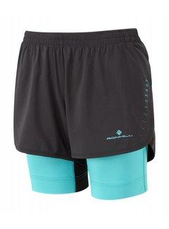 Ron Hill Ron Hill Marathon Twin Short Running Short Ladies Black / Blue