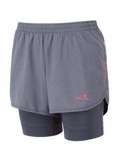 Ron Hill Ron Hill Marathon Twin Short Running Short Ladies Gray / Pink