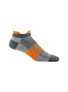Darn Tough Darn Tough Juice No Show Tab Merino Gray / Orange Light-Cusion Sport Socks