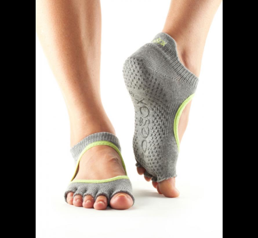 Toesox Bellarina Grip Half Toe Gray
