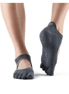 Toe Sox Toesox Full Toe Bellarina Grip Toe Socks Charcoal
