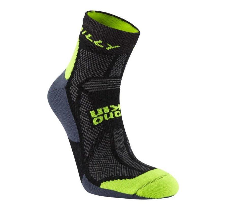 Hilly Off Road Midweight Single Trailrun Socken Schwarz / Gelb