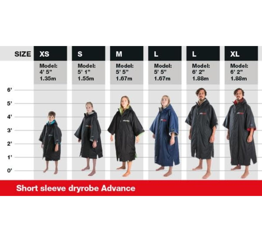 Dryrobe Advance Shortsleeve Zwart/Oranje