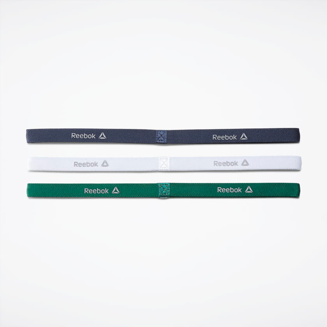Reebok One Series Schmales Stirnband (3er-Pack) Blau / Weiß / Grün