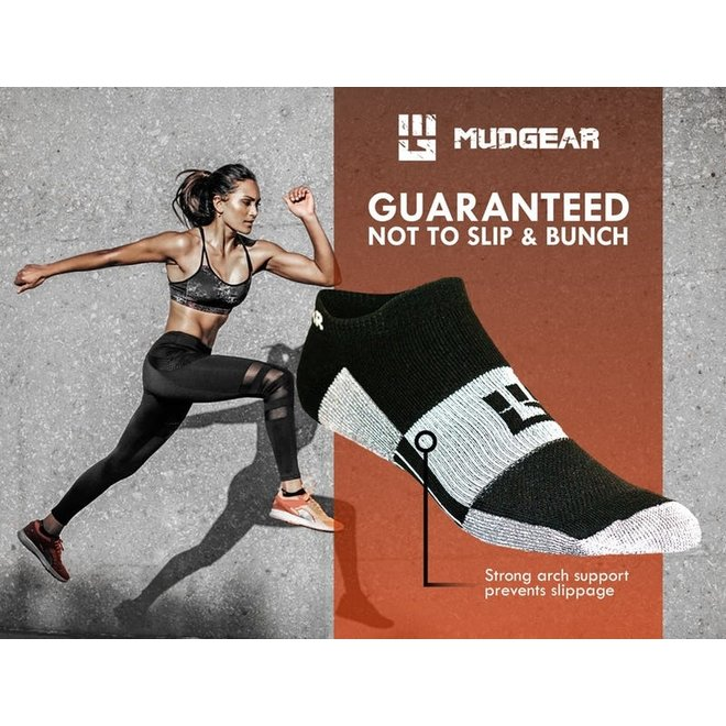 Mudgear No-Show Ankle Socks Running Black / Gray