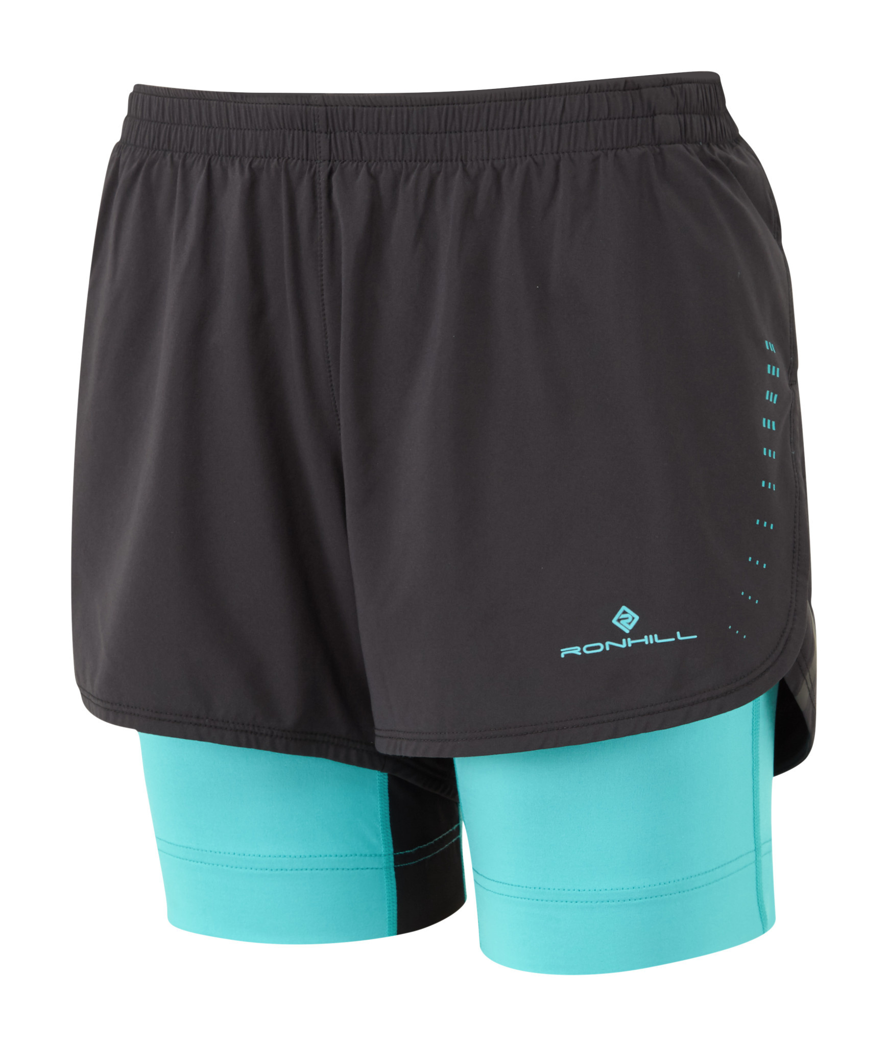 Black Ronhill Infinity Marathon Twin Mens 2 In 1 Running Shorts