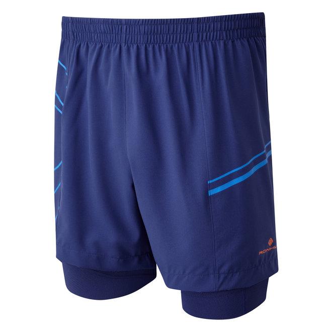 RonHill Infinity Marathon Twin Short Herren-Laufshorts in Blau / Azurit