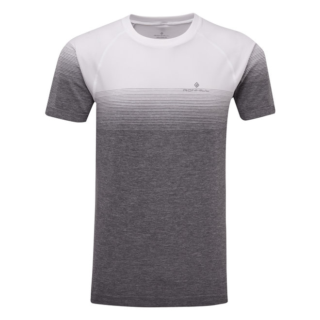 RonHill Infinity Marathon SS T-Shirt Men Gray-White
