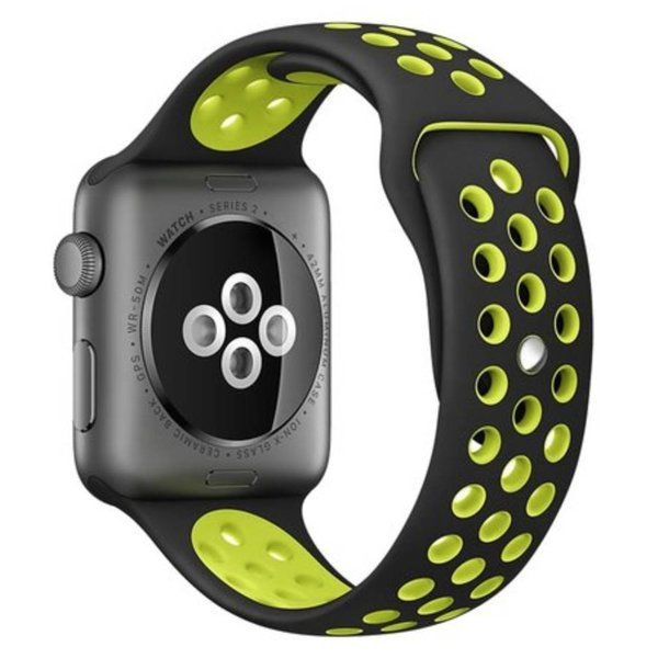 123Watches Apple watch dubbel sport band - zwart geel
