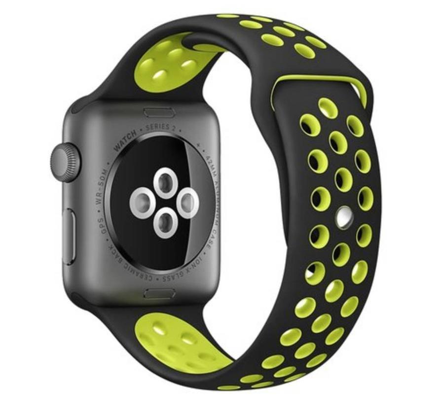 Apple watch dubbel sport band - zwart geel