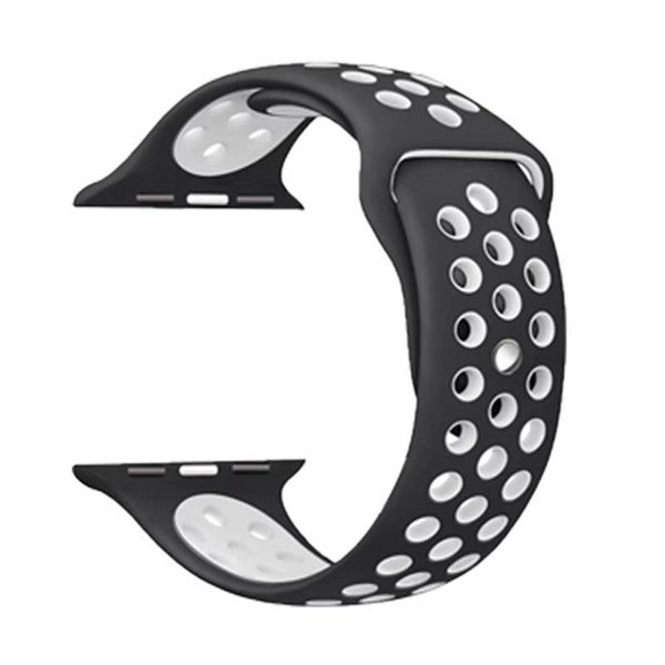 123Watches Apple Watch double sport sangle - noir blanc