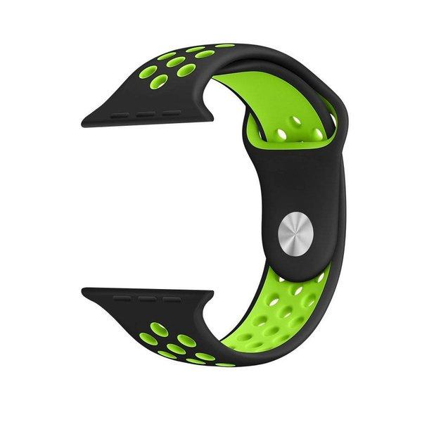 123Watches.nl Apple watch double sport bandje - black green