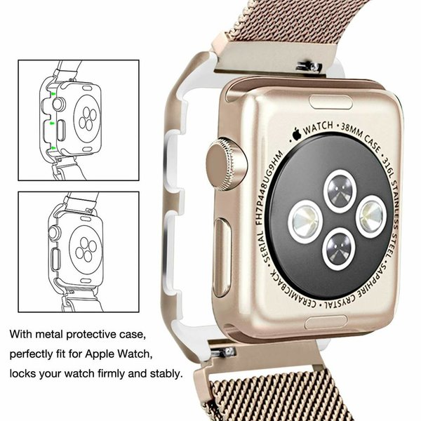 123Watches.nl Apple watch milanese case band - retro goud