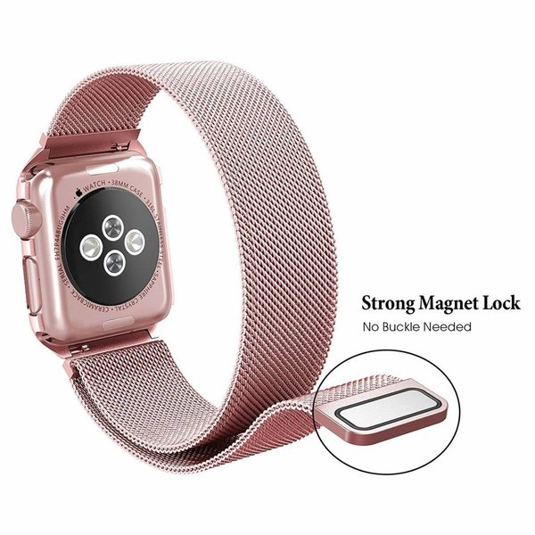 123Watches Apple watch milanese case band - rose gold