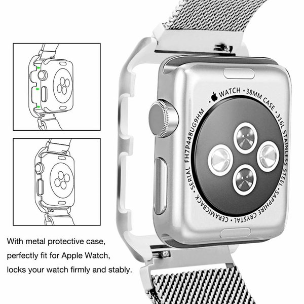 123Watches.nl Apple watch milanese case band - d'argent